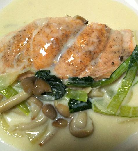 鮭のクリーム煮(健康レシピ)