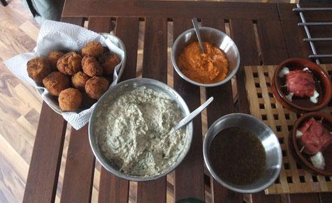 ltr: Potato Cheese - Balls, Berenjenas con Ajo, Mojo Picon, Goat Cheese wrapped in bacon
