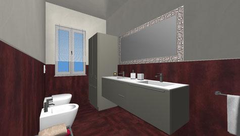 Ambiente bagno - Rendering tridimensionale