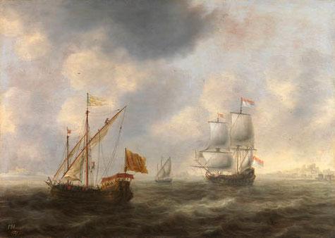 Galería turca y navio holandés frente a la costa, de Jacob Bellevois (1663)