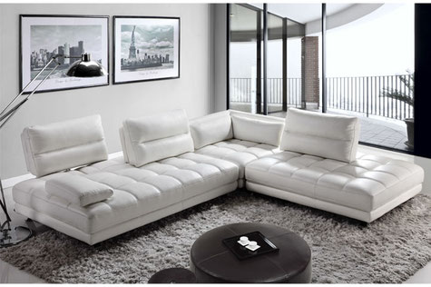 MR Amy Sectional Sofa: light gray modern leather sectional sofa with adjustable backrest