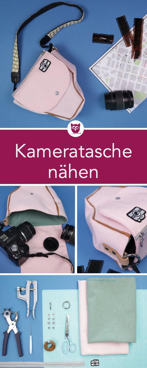 #KameratascheKaren aus dem #DIYeuleBuch : Kameratasche nähen aus Outdorrfstoff und Softshell – perfekt für SLR Kameras mit kleiner Applikation und Reivßerschlussfach. Nähanleitung von DIY Eule.