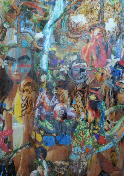 Collages & techniques mixtes sur plexiglas, 175x78cm, 2013.Détails, partie inférieure.