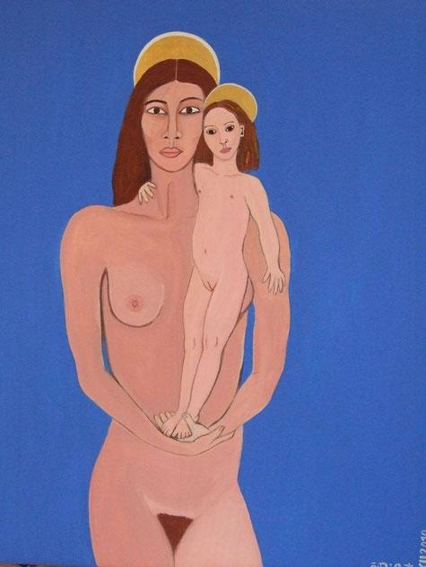 Mère et fille, peinture sur bois.