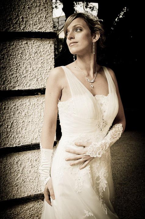 bride portrait north devon wedding day dress