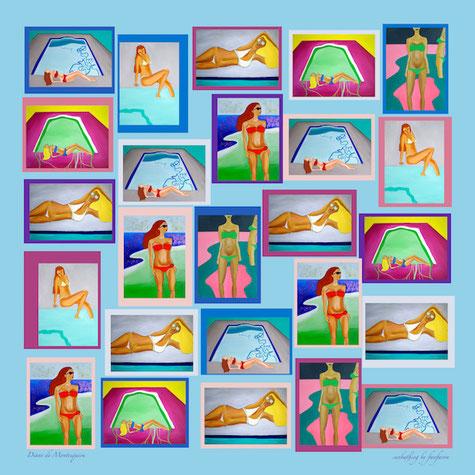 fanfaron foulard en soie, carré en soie, twill de soie, foulard made in france, Sunbathing by fanfaron, Diane de Montesquiou