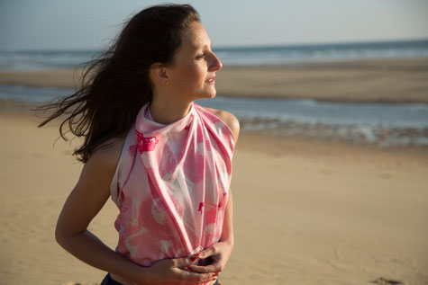 fanfaron scarf, scarves, silk, made in france, biarritz, beach, surf, lighthouse, waves, pink, silver, holidays