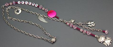 kinderkette-namenskette-engel-talisman-einschulungsgeschenk-schulkind-kleeblatt-herz-stern-engelsflügel-einschulung-glücksbringer