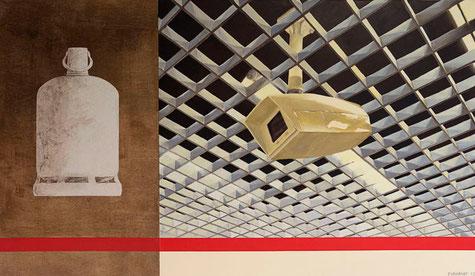 Camera et bombonne de gaz ~~ 2012 - huile et stickers sur toile et bois - 105x180cm