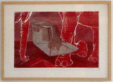 Eléphant ~~ 2008 - xylogravure, huile et collage sur papier -
