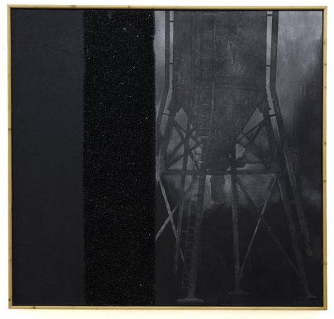 Silo#1 ~~ 2015 - pigments, résine et quarzt noir sur toile marrouflée sur bois - 100x100cm