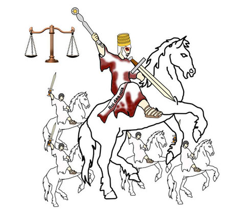 Jésus, le chef des anges, est à la tête des armées célestes.  Les armées célestes qui suivent Jésus sur des chevaux blancs sont des anges qui vont combattre au nom de Dieu et sous le commandement de leur chef : le Roi céleste, Jésus-Christ ou Michel.