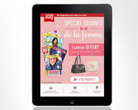 LSZ Communication - Graphiste - Directrice artistique freelance Nantes - #lepetitoiseaudelacom - Kiosquemag - Abonnement magazines - Journée de la femme - Emailing - Agence BY M