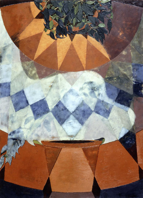 francois beaudry encaustic painting still life bas-relief leaves terracotta pot