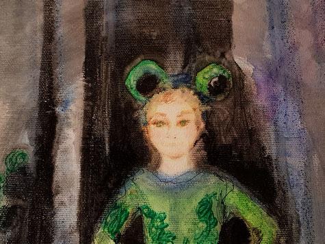 """A touch of Frog Lake"", detail, 55.5X45.5 cm., pastel, watercolor, pen, Sakura ink on canvas, 2019, Carmen Moreno"