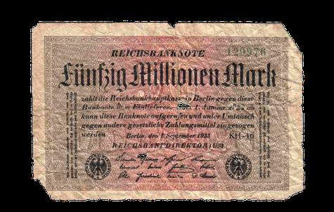 Banknote von fünfzig Millionen Mark aus der Zeit der Hyperinflation. Berlin, September 1923.