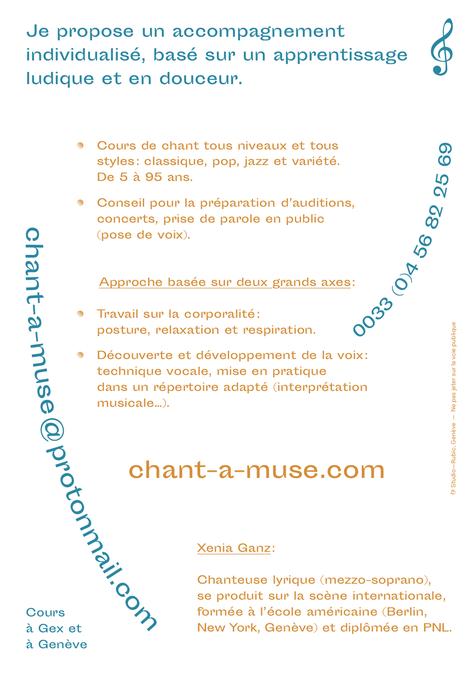 Cours-ateliers de chant à Gex et à Genève (pose de voix, préparation d'auditions et de concerts et prise de parole en public)