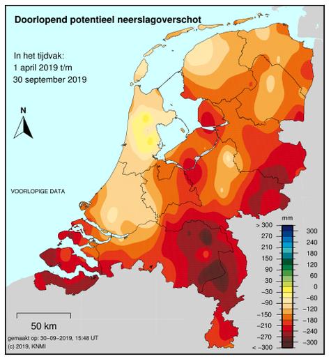 Het neerslagtekort verschilt sterk in Nederland; het is hoog in het zuid-oosten van het land.