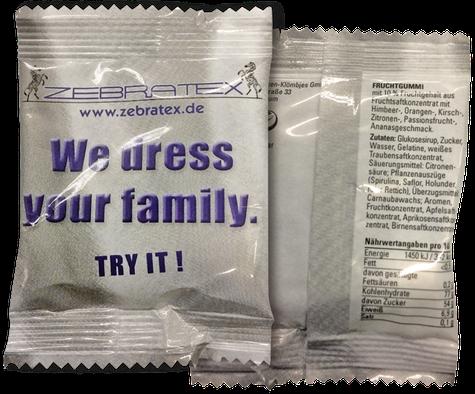 Fruchtgummi als süßer Werbeartikel in bedruckter Verpackung der Firma Zebratex.