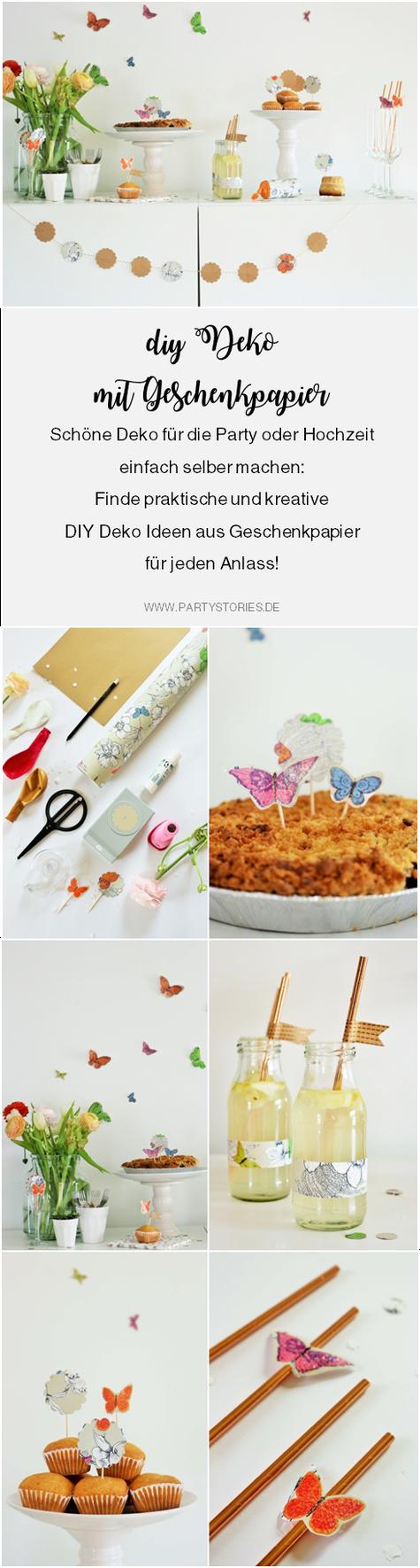 DIY Party Deko und Dekoration für die Hochzeit mit diesen Ideen aus Geschenkpapier ganz einfach selber basteln; gefunden auf www.partystories.de in Kooperation mit Jung Verpackungen