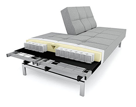 illustration of inner construction of modern sofa bed