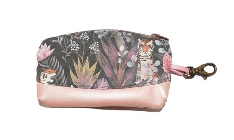 mini trousse porte-monnaie femme faux cuir rose tissu gris jungle exotique tigre mousqueton porte-clés