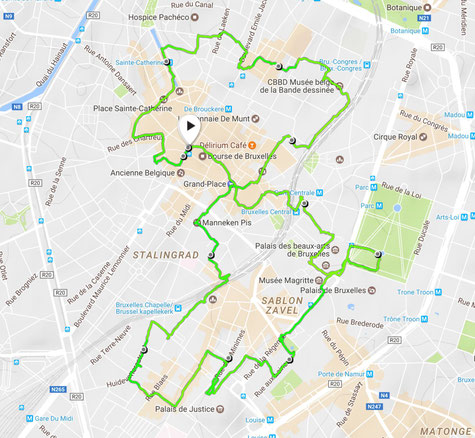 Laufstrecke Sightjogging in Brüssel by Lifetravellerz