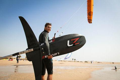 Pro Kitesurfer Florian Gruber mit Levitaz Kitefoil