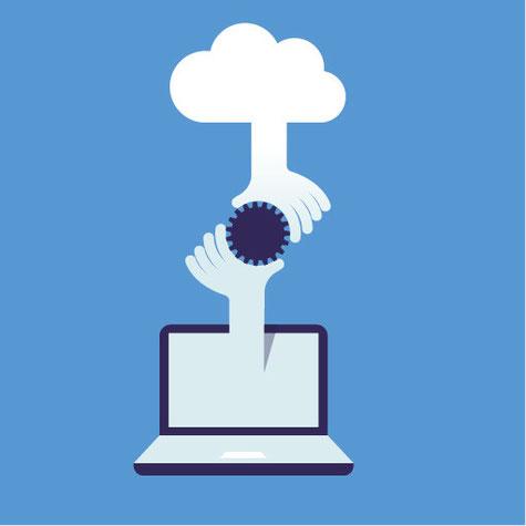 Übergabe eines Dokuments in Form eines Chips. Eine Hand reicht aus einer Wolke heraus, eine andere ragt aus einem Computerbildschirm.