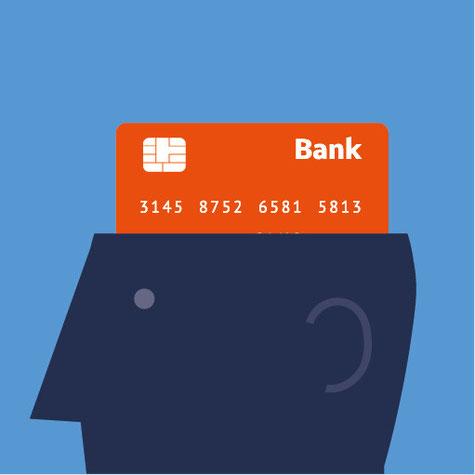 Aus einem Kopf ragt eine Bankkarte heraus und verdeutlicht, wie viel Raum das Finanzwesen im modernen Denken einnimmt.