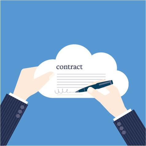 Ein als Wolke dargestellter Vertrag wird unterschrieben und ist damit rechtlich bindend