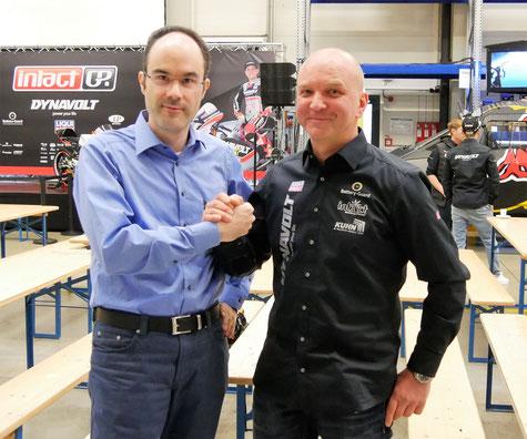 Treffen mit Dynavolt InactGP Teamchef Jürgen Lingg bei der offiziellen Teampräsentation für 2017.
