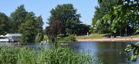 Natur pur beim hochsommerlichen Badespaß im Louisenbad.