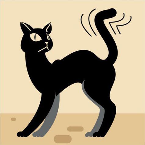 Если кошка активно машет хвостом