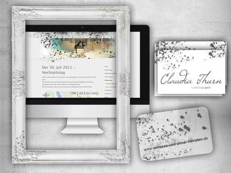 Hochzeitseinladung: Karte im Visitenkartenformat, Platzkarten + Homepage