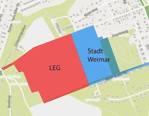 Für die roten und hellblauen Flächen soll im Merketal ein Bebauungsplan aufgestellt werden. Die Stadt Weimar will ihre Grundstücke (hellblau) an die Thüringer Landesentwicklungsgesellschaft verkaufen. Abbildung Andreas Wetzel