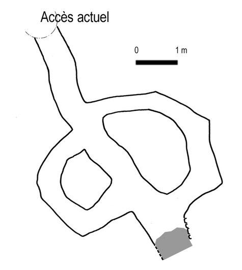 Plan du souterrain annulaire de La Monte (Loire) - (Plan GRAL - E. Clavier)