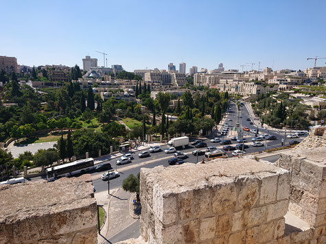 The view of Hinnom Valley from the walls of the Old City