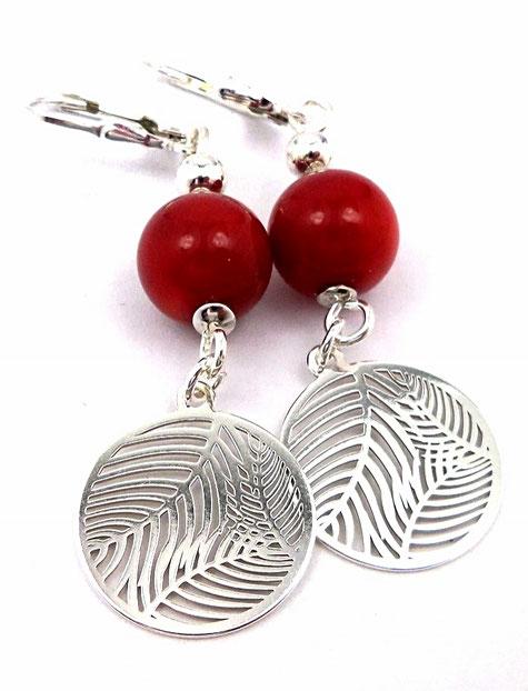 photo,boucles-d-oreilles-dormeuses-en-argent-925-et-perles-en-corail-rouge-avec-sequins-ronds-feuilles-palmier-evidees