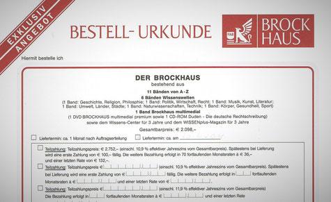 """Vertragsformular (""""Bestell-Urkunde"""") der inmediaONE] GmbH (hier: Kauf eines Brockhaus)"""