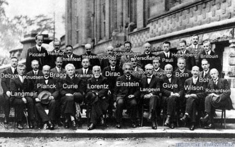 L'école de Copenhague - Conférence Solvay en Belgique (1927). Cliquer pour agrandir