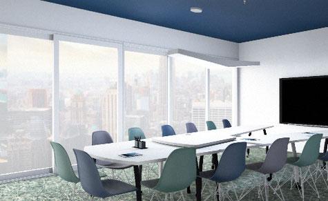 Aménagement et décoration salle de réunion originale et moderne bleu