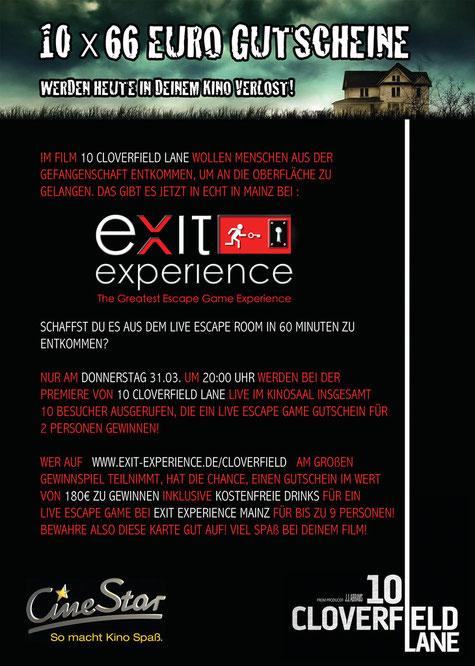 10 Cloverfield Lane | das große CineStar / Exit Experience Gewinnspiel