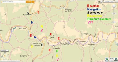Carte des activités sportives (outdoor activities) sur le département du Lot autour de Saint Cirq Lapopie Tour de Faure 46330.Touristic vallées du Lot Célé.Avec Lot aventure 46.
