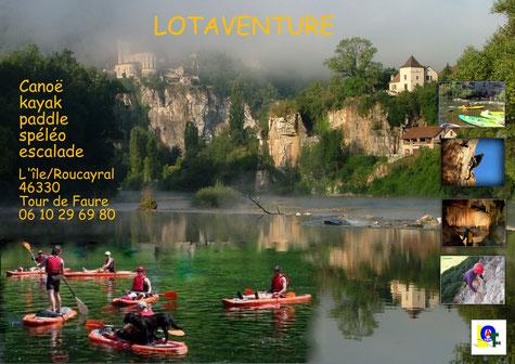 Base nautique de Lotaventure à Cajarc 46160 google map/France.Location et descente de Canoë (canoeing), kayak, paddle en vallée du Lot. Spéléologie (caving),escalade(climbing),canyoning ,acrobranche, parcours aventure, via ferrata, grotte acrobatique.