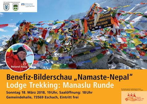 "Plakat Benefiz-Bilderschau ""Namaste Nepal"" Lodge Trekking: Manaslu Runde"