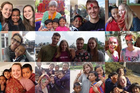 Collage mit Bildern von wiedergekommenen Praktikanten und Praktikantinnen