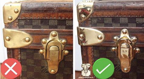 reconnaitre un bon polissage du laiton Malle Louis Vuitton