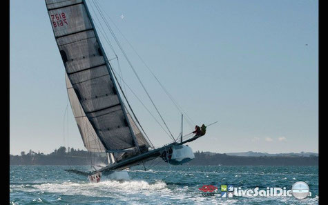 Catamaran Taeping racing in Auckland