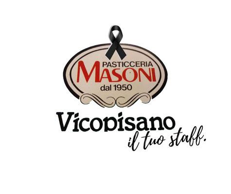 Pasticceria Masoni Vicopisano primo logo originale pasticceria Masoni - lutto Franco Masoni 19 luglio 2015 primo